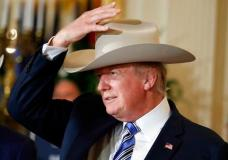 "President Donald Trump tries on a Stetson hat during a ""Made in America,"" product showcase featuring items created in each of the U.S. 50 states, Monday, July 17, 2017, at the White House in Washington. Stetson is base in Garland, Texas. (AP Photo/Alex Brandon)"
