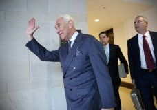 Longtime Donald Trump associate Roger Stone arrives to testify behind closed-doors as part of the House Intelligence Committee's investigation into Russian meddling in the 2016 election, on Capitol Hill in Washington, Tuesday, Sept. 26, 2017. (AP Photo/J. Scott Applewhite)