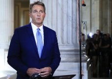 """Sen. Jeff Flake, R-Ariz., speaks during a television interview on Capitol Hill in Washington, Tuesday, Oct. 24, 2017. Flake announced he would not run for re-election in 2018, condemning in a speech aimed at President Donald Trump the """"flagrant disregard of truth and decency"""" that is undermining American democracy. (AP Photo/Manuel Balce Ceneta)"""