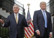 "FILE - In this Aug. 11, 2017, file photo, Secretary of State Rex Tillerson, left, speaks following a meeting with President Donald Trump at Trump National Golf Club in Bedminster, N.J. The strained relationship between President Donald Trump and Secretary of State Rex Tillerson came under renewed focus Sunday, Oct. 15, during an interview with Jake Tapper on CNN, as Tillerson insisted that Trump has not undermined him even as he again refused to deny calling the president ""a moron.""(AP Photo/Pablo Martinez Monsivais, File)"