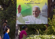 FILE - In this Saturday, Nov. 25, 2017, file photo, ethnic Kachin Christians arrive at St. Anthony Catholic Church in Yangon, Myanmar. Pope Francis on Monday, Nov. 27, 2017 begins a six-day trip to the two countries. While attention will focus on how Francis addresses the Rohingya Muslim crisis, the trip also holds huge significance for the tiny Catholic communities in each country. (AP Photo/Thein Zaw, File)