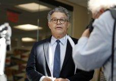 Sen. Al Franken, D-Minn., arrives to speak to the media on Capitol Hill, Monday, Nov. 27, 2017 in Washington. (AP Photo/Alex Brandon)