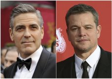 """This combination photo shows George Clooney at the 80th Academy Awards in Los Angeles on Feb. 24, 2008, left, and Matt Damon at the Los Angeles premiere of the Clooney-directed film, """"Suburbicon,"""" in Los Angeles on Oct. 22, 2017. Damon and Clooney have previously worked together in the 2005 film, """"Syriana,"""" the """"Ocean's Eleven"""" films and 2014′s """"The Monuments Men."""" (AP Photo/File)"""