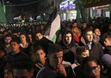 Hamas supporters stage a protest against the possible U.S. decision to recognize Jerusalem as Israel's capital, in Jebaliya Refugee Camp, Gaza Strip, Wednesday, Dec. 6, 2017. President Donald Trump is forging ahead with plans to recognize Jerusalem as Israel's capital despite intense Arab, Muslim and European opposition to a move that would upend decades of U.S. policy and risk potentially violent protests. (AP Photo/Adel Hana)