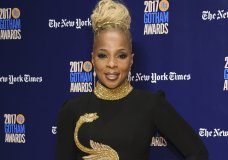 "FILE - In this Nov. 27, 2017 file photo, Mary J. Blige arrives at the 27th annual Independent Film Project's Gotham Awards in New York. Blige was nominated for two Golden Globe awards on Monday, Dec. 11, 2017, including one for best original song for ""Mighty River,"" featured in ""Mudbound."" (Photo by Evan Agostini/Invision/AP, File)"