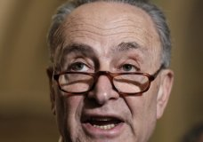Senate Minority Leader Chuck Schumer, D-N.Y., speaks to reporters ahead of President Donald Trump's first State of the Union address, at the Capitol in Washington, Tuesday, Jan. 30, 2018. Schumer said Trump should thank his predecessor, Barack Obama, for the booming economy during the address. (AP Photo/J. Scott Applewhite)