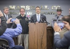 Gov. Matt Bevin speaks during a media briefing at the Marshall County Board of Education following a shooting at Marshall County High School in Benton, Ky., Tuesday, Jan. 23, 2018. A couple of students were killed and others injured Tuesday morning at Marshall County High School when a 15-year-old classmate opened fire. (Ryan Hermens/The Paducah Sun via AP)