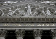 FILE - This Thursday, Oct. 2, 2014, file photo, shows the facade of the New York Stock Exchange. U.S. stock indexes took a small step back from their record levels on Monday, Jan. 8, 2018, as their momentum slowed following a torrid start to the year. (AP Photo/Richard Drew, File)