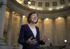 """FILE - In this Jan. 23, 2018, file photo, Sen. Susan Collins, R-Maine, speaks during a TV news interview on Capitol Hill in Washington. Collins on Sunday, Jan. 28, said President Donald Trump would be """"best served"""" by keeping a public silence on an independent investigation into his 2016 campaign's contacts with Russia in the wake of news reports of attempted presidential interference and urged special counsel Robert Mueller to review whether Trump tried to fire him. (AP Photo/J. Scott Applewhite, File)"""