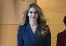 """In this Feb. 27, 2018 photo, White House Communications Director Hope Hicks, one of President Trump's closest aides and advisers, arrives to meet behind closed doors with the House Intelligence Committee, at the Capitol in Washington. Hicks, one of President Donald Trump's most loyal aides, is resigning. In a statement, the president praises Hicks for her work over the last three years. He says he """"will miss having her by my side."""" The news comes a day after Hicks was interviewed for nine hours by the panel investigating Russia interference in the 2016 election and contact between Trump's campaign and Russia. (AP Photo/J. Scott Applewhite)"""