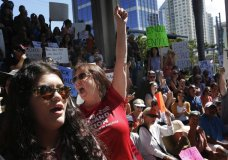 Helena Moreno, center, yells during a protest against guns on the steps of the Broward County Federal courthouse in Fort Lauderdale, Fla., on Saturday, Feb. 17, 2018. Nikolas Cruz, a former student, is charged with killing 17 people at Marjory Stoneman Douglas High School in Parkland, Fla., on Wednesday. (AP Photo/Brynn Anderson)