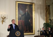 President Donald Trump speaks during a public safety Medal of Valor awards ceremony in the East Room of the White House, Tuesday, Feb. 20, 2018, in Washington. (AP Photo/Manuel Balce Ceneta)