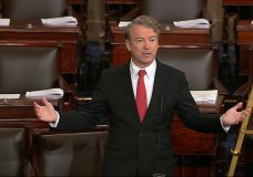 In this image from video from Senate Television, Sen. Rand Paul, R-Ky., speaks on the floor of the Senate Thursday, Feb. 8, 2018, on Capitol Hill in Washington. (Senate TV via AP)