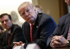 President Donald Trump listens during a meeting with steel and aluminum executives in the Cabinet Room of the White House, Thursday, March 1, 2018, in Washington. Trump's announcement that he will impose stiff tariffs on imported steel and aluminum has upended political alliances on Capitol Hill. (AP Photo/Evan Vucci)