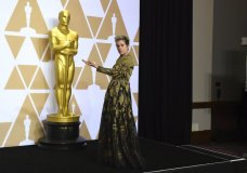 """Frances McDormand, winner of the award for best performance by an actress in a leading role for """"Three Billboards Outside Ebbing, Missouri"""", poses in the press room at the Oscars on Sunday, March 4, 2018, at the Dolby Theatre in Los Angeles. (Photo by Jordan Strauss/Invision/AP)"""