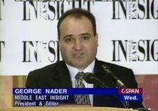 FILE - This 1998 frame from video provided by C-SPAN shows George Nader, president and editor of Middle East Insight. Nader, an adviser to the United Arab Emirates who is now a witness in the U.S. special counsel investigation into foreign meddling in American politics, wired $2.5 million to Donald Trump's fundraiser, Elliott Broidy, through a company in Canada, according to two people who spoke on the condition of anonymity because of the sensitivity of the matter. (C-SPAN via AP, File)