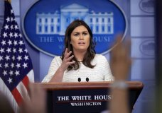 White House press secretary Sarah Huckabee Sanders talks to reporters during the daily press briefing in the Brady press briefing room at the White House, in Washington, Wednesday, April 11, 2018. (AP Photo/Manuel Balce Ceneta)
