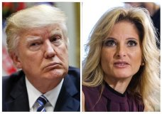 """In this combination photo, President Donald Trump, left, listens during a meeting on healthcare in the Roosevelt Room of the White House, on March 13, 2017 in Washington and Summer Zervos, a former contestant on """"The Apprentice"""" appears at a news conference in Los Angeles on Oct. 14, 2016. Trump wants New York's highest court to delay a defamation suit filed by Zervos, who accused him of unwanted groping and kissing. Trump's lawyers filed notice late Monday, May 21, 2018, asking the state Court of Appeals to freeze Zervos' suit while a lower appellate court considers Trump's request to dismiss it or postpone it until after his presidency. (AP Photos/Pablo Martinez Monsivais, left, and Ringo H.W. Chiu, Files)"""