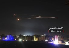 "This photo provided early Thursday, May 10, 2018, by the government-controlled Syrian Central Military Media, shows missiles rise into the sky as Israeli missiles hit air defense position and other military bases, in Damascus, Syria. The Israeli military on Thursday said it attacked ""dozens"" of Iranian targets in neighboring Syria in response to an Iranian rocket barrage on Israeli positions in the Golan Heights, in the most serious military confrontation between the two bitter enemies to date. (Syrian Central Military Media, via AP)"