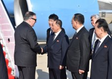 U.S. Secretary of State Mike Pompeo is greeted by senior North Korean official Kim Yong Chul, director of the United Front Department, which is responsible for North-South Korea affairs (left), and Foreign Minister Ri Su Yong, on his arrival in Pyongyang, North Korea, Wednesday, May 9, 2018. Pompeo met with North Korean leader Kim Jong Il later and secured the release of three American prisoners ahead of a planned summit between Kim and President Donald Trump. (AP Photo/Matthew Lee, Pool)