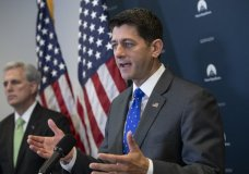 Speaker of the House Paul Ryan, R-Wis., joined by Majority Leader Kevin McCarthy, R-Calif., left, talks to reporters following a GOP strategy session at the Capitol in Washington, Tuesday, June 26, 2018. A far-reaching Republican immigration bill is careening toward likely House rejection, a defeat that would be a telling rebuff of the leaders of a divided GOP. The party's lawmakers are considering Plan B: Passing legislation by week's end curbing the Trump administration's contentious separating of migrant families. (AP Photo/J. Scott Applewhite)