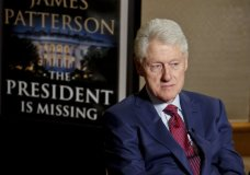 """In this Monday, May 21, 2018, photo, former President Bill Clinton listens during an interview about a novel he wrote with James Patterson, """"The President is Missing,"""" in New York. (AP Photo/Bebeto Matthews)"""
