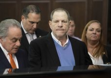 """FILE - In this May 25, 2018 file photo, Harvey Weinstein, center, listens during a court proceeding in New York during his arraignment on rape and other charges. On Friday, June 1, 2018, a new rape allegation was made against Weinstein as part of a lawsuit alleging he had help covering up his misconduct with women. Melissa Thompson says that when she was meeting with Weinstein in 2011 to pitch internet technology, he cornered her and """"out-muscled"""" her as she tried to fight him off. (Steven Hirsch/New York Post via AP, Pool)"""