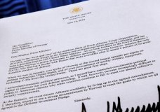 A copy of a letter sent to the Prime Minister Erna Solberg of Norway by U.S. President Donald Trump demanding an increase in Norway's NATO spending is photographed in Washington, Tuesday, July 3, 2018. The letter was supplied to the Associated Press by the Norwegian Defense Ministry. (AP Photo/J. David Ake)