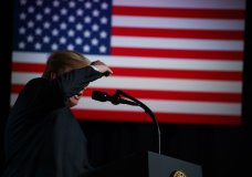 """President Donald Trump speaks during a """"Salute to Service"""" dinner, Tuesday, July 3, 2018, in White Sulphur Springs, W.Va. (AP Photo/Evan Vucci)"""
