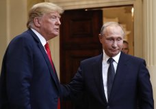 U.S. President Donald Trump, left, and Russian President Vladimir Putin leave a press conference after their meeting at the Presidential Palace in Helsinki, Finland, Monday, July 16, 2018. (AP Photo/Pablo Martinez Monsivais)