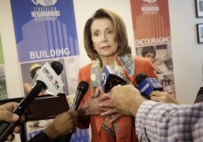 House Minority Leader Nancy Pelosi speaks to reporters after a news conference at the Tenderloin Neighborhood Development Corporation's Sala Burton Manor in San Francisco, Tuesday, Aug. 21, 2018. (AP Photo/Jeff Chiu)
