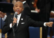 Rev. Al Sharpton reads a letter from former President Obama during the funeral service for Aretha Franklin at Greater Grace Temple, Friday, Aug. 31, 2018, in Detroit. Franklin died Aug. 16, 2018 of pancreatic cancer at the age of 76. (AP Photo/Paul Sancya)