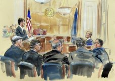 This courtroom sketch depicts Rick Gates, right, answering questions by prosecutor Greg Andres as he testifies in the trial of Paul Manafort, seated second from left, at the Alexandria Federal Courthouse in Alexandria, Va., Monday, Aug. 6, 2018. U.S. district Judge T.S. Ellis III presides as Manafort attorney's including Kevin Downing, left, Thomas Zehnle, third from left, listen. (Dana Verkouteren via AP)