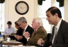 Martin P. Duffey, left, Christopher C. Fallon Jr., center, who are lawyers for Johnny Bobbitt, and Ernest E. Badway, right, who is the lawyer for the Kate McClure and Mark D'Amico, listen during a hearing on missing funds in the Johnny Bobbitt case in the Olde Historic Courthouse in Mt. Holly, NJ, Wednesday, Sept. 5, 2018. McClure and D'Amico are accused of mismanaging the money raised for Bobbitt. (David Maialetti/The Philadelphia Inquirer via AP, Pool)