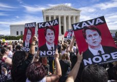 Protesters rally against Supreme Court nominee Judge Brett Kavanaugh as the Senate Judiciary Committee debates his confirmation, Friday, Sept. 28, 2018, at the Supreme Court in Washington. (AP Photo/J. Scott Applewhite)