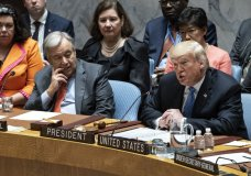 President Donald Trump addresses the United Nations Security Council during the 73rd session of the United Nations General Assembly, at U.N. headquarters, Wednesday, Sept. 26, 2018. Left is United Nations Secretary-General Antonio Guterres. (AP Photo/Craig Ruttle)