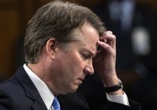In this Sept. 6, 2018 photo, Supreme Court nominee, Brett Kavanaugh waits to testify before the Senate Judiciary Committee for the third day of his confirmation hearing, on Capitol Hill in Washington. Official Washington is scrambling Monday to assess and manage Kavanaugh's prospects after his accuser, Christine Blasey Ford, revealed her identity to The Washington Post and described an encounter she believes was attempted rape. Kavanaugh reported to the White House amid the upheaval, but there was no immediate word on why or whether he had been summoned. (AP Photo/J. Scott Applewhite)