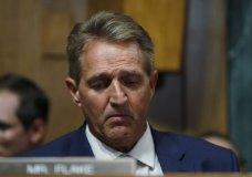 Sen. Jeff Flake, R-Ariz., listens during a meeting of the Senate Judiciary Committee, Friday, Aug. 28, 2018 on Capitol Hill in Washington. (AP Photo/Pablo Martinez Monsivais)