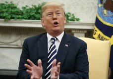 President Donald Trump speaks during meeting with Polish President Andrzej Duda in the Oval Office of the White House, Tuesday, Sept. 18, 2018, in Washington. (AP Photo/Evan Vucci)