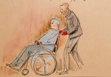 This courtroom sketch depicts Robert Gregory Bowers, who was wounded in a gun battle with police as he appeared in a wheelchair at federal court on Monday, Oct. 29, 2018, in Pittsburgh. Bowers, accused in the Pittsburgh synagogue massacre, appeared briefly in federal court in a wheelchair and handcuffs Monday to face charges he killed 11 people. (Dave Klug via AP)