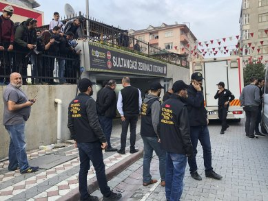 Turkish police cordon off an area close to an underground car park, where authorities earlier found a vehicle belonging to the Saudi Consulate, in Istanbul, Monday, Oct. 22, 2018. Turkish crime-scene investigators have arrived at the park, where the car, according to news reports, was left two weeks ago. Investigators looking into the disappearance of Saudi journalist Jamal Khashoggi had last week searched other consulate vehicles, along with the consulate building and the consul general's residence.(AP Photo/Mehmet Guzel)
