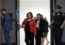 Sen. Mazie Hirono, D-Hawaii, departs after viewing the FBI report on sexual misconduct allegations against Supreme Court nominee Brett Kavanaugh, on Capitol Hill, Thursday, Oct. 4, 2018 in Washington. (AP Photo/Alex Brandon)