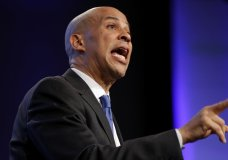In this Oct. 6, 2018 photo, Sen. Cory Booker, D-N.J., speaks during the Iowa Democratic Party's annual Fall Gala, in Des Moines, Iowa. Booker is telling students on a historically black campus in the early presidential voting state of South Carolina that apathetic voters rather than Republicans are to blame for the nation's problems. (AP Photo/Charlie Neibergall)