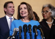 House Minority Leader Nancy Pelosi, D-Calif., joined by from left, Rep. Eric Swalwell, D-Calif., and Rep. Joyce Beatty, D-Ohio., speaks to media at Longworth House Office Building on Capitol Hill in Washington, Wednesday, Nov. 28, 2018, to announce her nomination by House Democrats to lead them in the new Congress. She still faces a showdown vote for House speaker when lawmakers convene in January. (AP Photo/Carolyn Kaster)