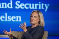 In this Sept. 5, 2018 file photo, Secretary of Homeland Security Kirstjen Nielsen speaks to George Washington University's Center for Cyber and Homeland Security, in Washington. President Donald Trump has soured on Homeland Security Secretary Kirstjen Nielsen and she is expected to leave her job as soon as this week. That's according to two people who spoke to the Associated Press on condition of anonymity. (AP Photo/Cliff Owen)