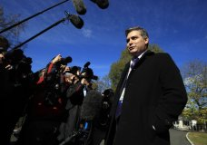 """CNN's Jim Acosta speaks to journalists on the North Lawn upon returning back to the White House in Washington, Friday, Nov. 16, 2018. U.S. District Court Judge Timothy Kelly ordered the White House to immediately return Acosta's credentials. He found that Acosta was """"irreparably harmed"""" and dismissed the government's argument that CNN could send another reporter in Acosta's place to cover the White House. (AP Photo/Manuel Balce Ceneta)"""