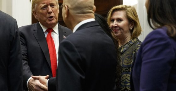 "Deputy National Security Adviser Mira Ricardel, right, watches as President Donald Trump arrives for a Diwali ceremonial lighting of the Diya in the Roosevelt Room of the White House, Tuesday, Nov. 13, 2018, in Washington. In an extraordinary move, first lady Melania Trump is publicly calling for the dismissal of Ricardel. After reports circulated that the president had decided to remove Ricardel, the first lady's spokeswoman issued a statement saying: ""It is the position of the Office of the First Lady that she no longer deserves the honor of serving in this White House."" Ricardel is national security adviser John Bolton's deputy. (AP Photo/Evan Vucci)"