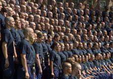 FILE - In this July 2, 2018 file photo, members of the U.S. Coast Guard Academy Class of 2022 pose for their class photo on day one of Swab Summer at the academy in New London, Conn. An official said Thursday, Nov. 1, 2018 that the inspector general for the Department of Homeland Security is investigating allegations of racial discrimination and inadequate follow-up by the school's leadership.. (Sean D. Elliot/The Day via AP, File)
