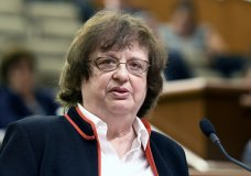 FILE - In this May 15, 2018, file photo, Barbara Underwood speaks to legislative leaders in Albany, N.Y., interviewing her for the office of New York Attorney General to replace Attorney General Eric Schneiderman who resigned amid domestic abuse allegations. President Donald Trump's charitable foundation has reached a deal to dissolve amid a legal battle with New York's attorney general Underwood. Underwood and the foundation filed a joint stipulation with the court Tuesday, Dec. 18, laying out a process for shutting down the charity and distributing its remaining assets to other nonprofit groups. (AP Photo/Hans Pennick, File)
