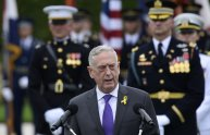 FILE - In this Sept. 21, 2018, file photo, Defense Secretary Jim Mattis speaks during the 2018 POW/MIA National Recognition Day Ceremony at the Pentagon. Outgoing Defense Secretary Jim Mattis is quoting President Abraham Lincoln in a farewell message to defense employees, urging them to stay focused on their mission. (AP Photo/Susan Walsh, File)